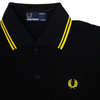 Fred Perry - twin tipped Kids Shirt black/new yellow SY3600