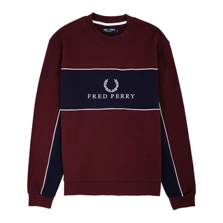 Fred Perry - panel piped sweatshirt M4553 mahogany A55
