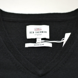 Ben Sherman - merino v neck black 290