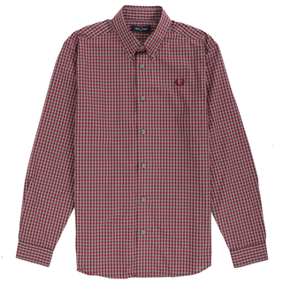 Fred Perry - three colour Gingham Shirt M7569 crimson H79