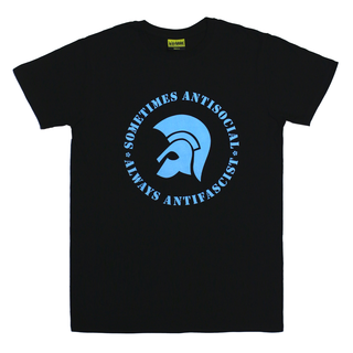 Sometimes Antisocial, Always Antifascist - logo black blue