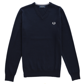 Fred Perry - classic merino V Neck jumper K7600 dark carbon 395