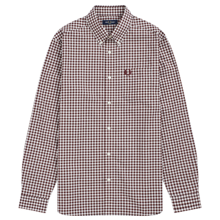 Fred Perry - Gingham Long Sleeve Shirt M9500 mahogany 799